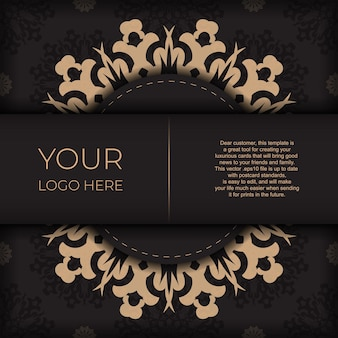 Plantilla presentable para impresión de postales de diseño en color negro con adorno árabe. vector preparación de la tarjeta de invitación con patrones vintage.