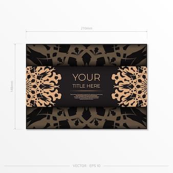 Plantilla presentable para imprimir postales de diseño en color negro con motivos árabes. preparación de vector de tarjeta de invitación con adornos vintage.