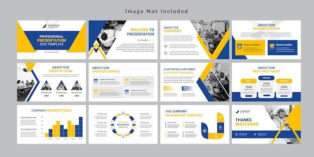 Plantilla de presentación de diapositivas de negocios mínima vector premium