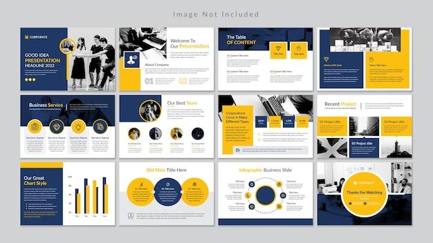 Plantilla de presentación de diapositivas de negocios mínimos premium vector.