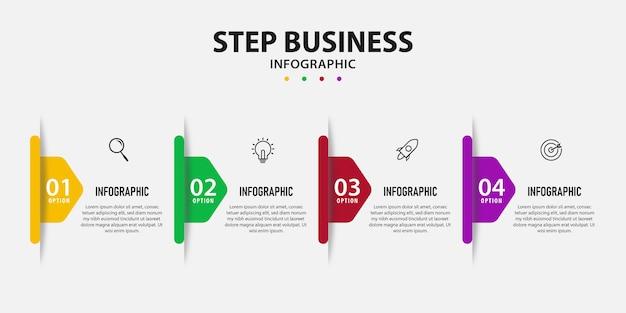 Plantilla de presentación de diseño con 4 pasos