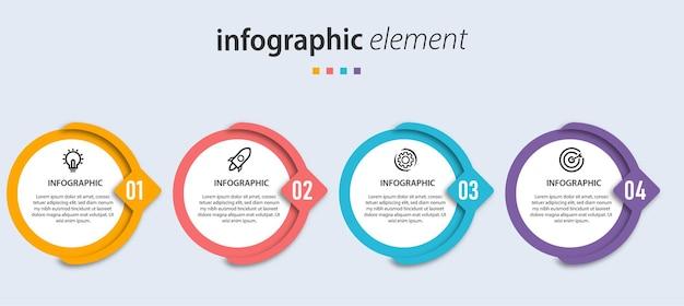 Plantilla de presentación de diseño de flecha de círculo de infografía vectorial con 4 opciones