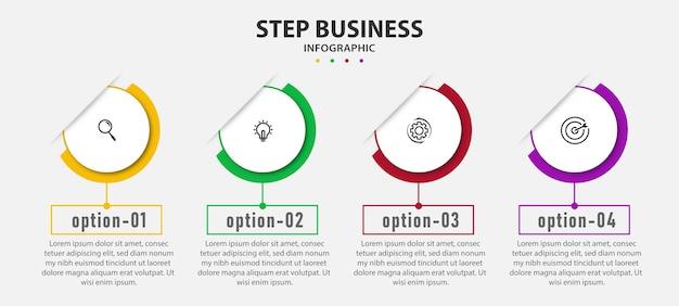 Plantilla de presentación de diseño con pasos