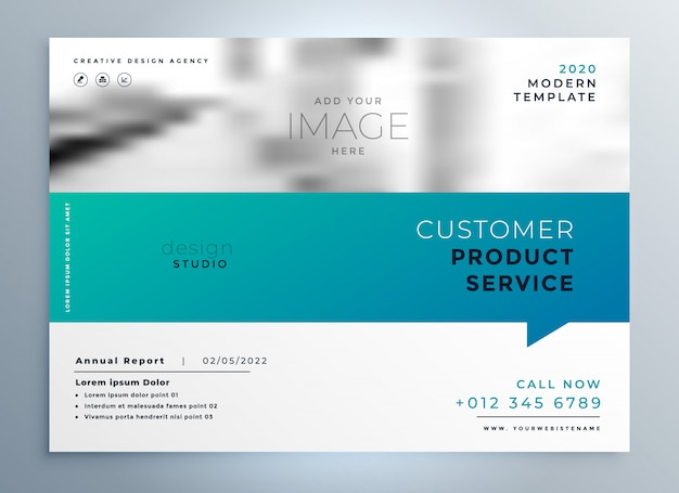 Plantilla de presentación elegante folleto de negocios azul