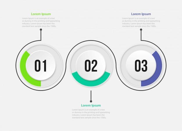 Plantilla de presentación empresarial infografía con 3 opciones. ilustración.