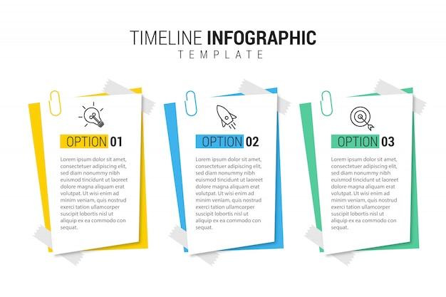Plantilla de presentación empresarial infografía con 3 opciones.