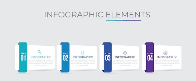 Plantilla de presentación empresarial infografía con 4 opciones.