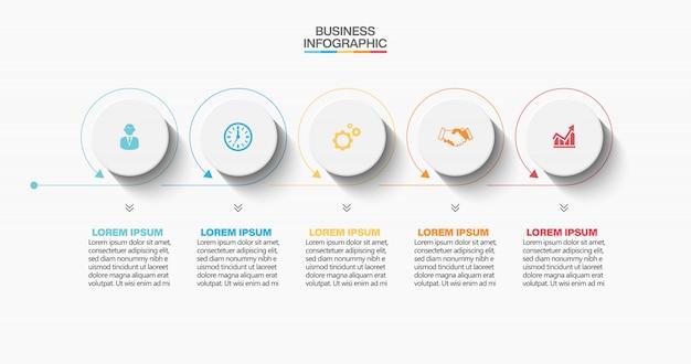Plantilla de presentación empresarial infografía con 5 opciones.