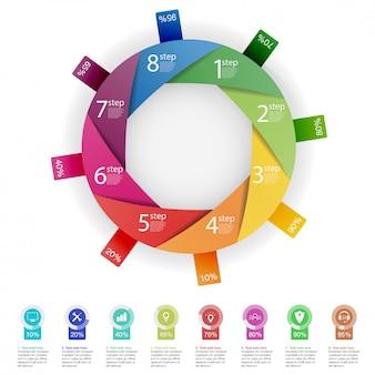Plantilla de presentación empresarial infografía con 8 opciones.