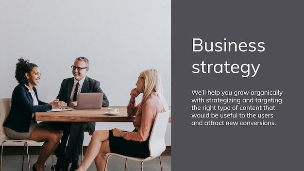 Plantilla de presentación de estrategia empresarial con personas en reunión