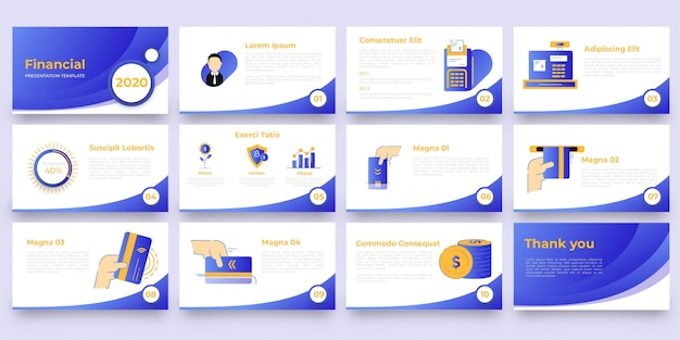 Plantilla de presentación financiera con ilustración plana
