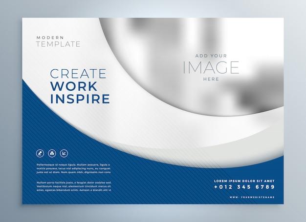 Plantilla de presentación de folleto comercial ondulado azul