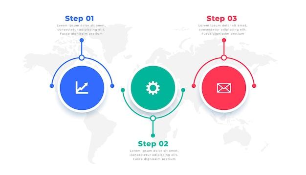 Plantilla de presentación de infografía moderna de tres pasos