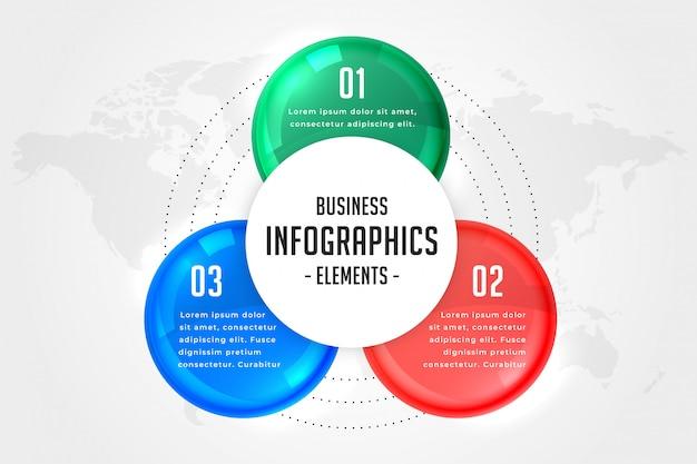 Plantilla de presentación de infografías de tres pasos.