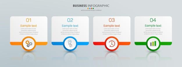 Plantilla de presentación infográfica con 4 opciones.