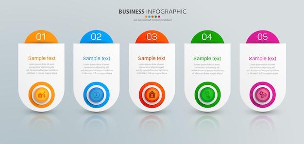 Plantilla de presentación infográfica con 5 pasos.