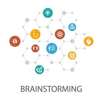 Plantilla de presentación de lluvia de ideas, diseño de portada e infografías. imaginación, idea, oportunidad, iconos de trabajo en equipo