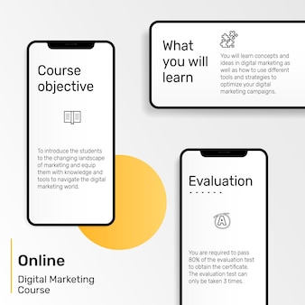 Plantilla de presentación de marketing digital con teléfono móvil