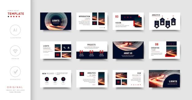 Plantilla de presentación de negocios azul y roja de estilo minimalista
