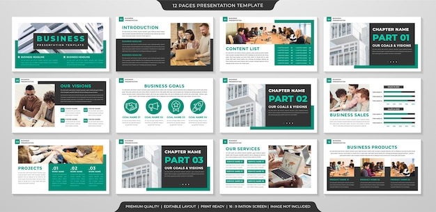 Plantilla de presentación de negocios con concepto limpio y uso de estilo minimalista para informe anual y perfil comercial