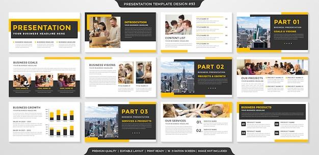 Plantilla de presentación de negocios diseño limpio
