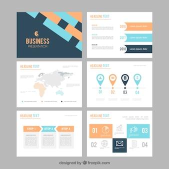 Plantilla de presentación de negocios en estilo plano