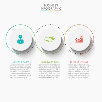 Plantilla de presentación de negocios infografía con 3 opciones.
