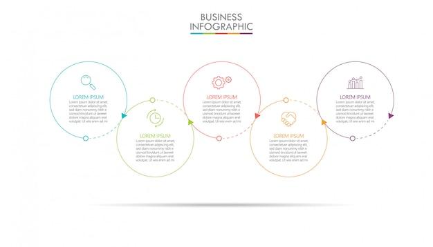 Plantilla de presentación de negocios infografía con 5 opciones.