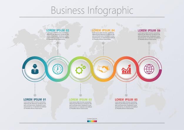 Plantilla de presentación de negocios infografía con 6 opciones.