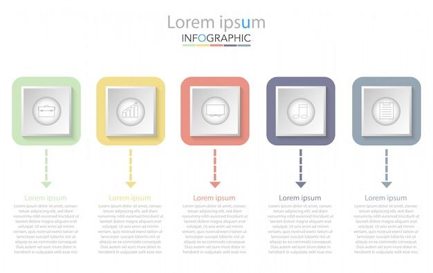 Plantilla de presentación de negocios infografía con cinco opciones. ilustracion vectorial