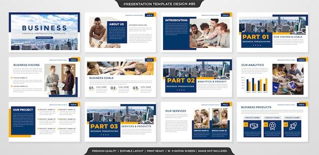 Plantilla de presentación de negocios limpia estilo premium
