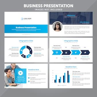 Plantilla de presentación de negocios en vector de estilo plano