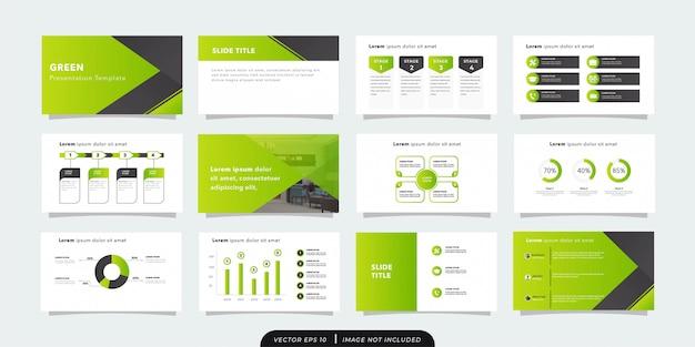 Plantilla de presentación de negocios verde minimalista