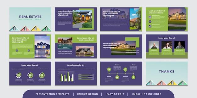Plantilla de presentación de powerpoint editable de diapositivas de bienes raíces mínimas