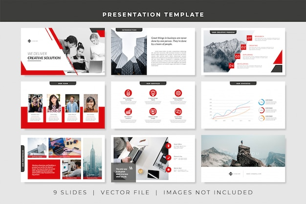 Plantilla de presentación de powerpoint empresarial de 9 diapositivas