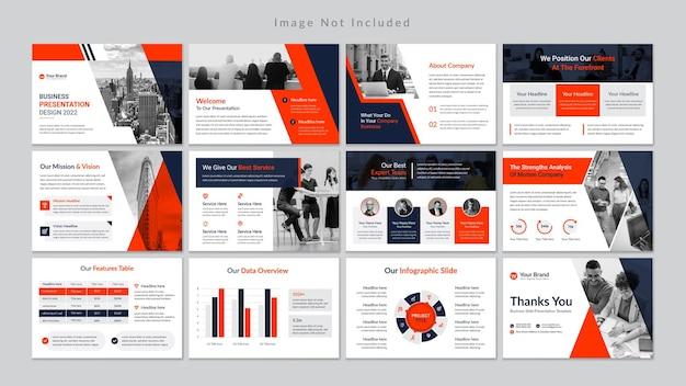 Plantilla de presentación profesional de diapositivas de negocios premium vector.