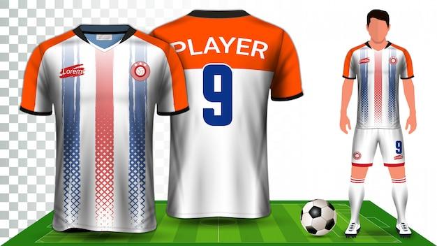 Plantilla de presentación uniforme de la camiseta de fútbol, camiseta deportiva o kit de fútbol.