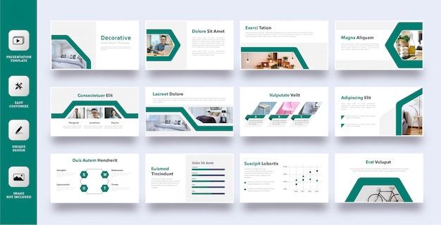Plantilla de presentación verde decorativa set 12 páginas