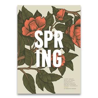Plantilla de primavera con flores