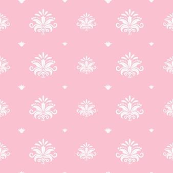 Plantilla de princesa barroca floral. diseño rosa decorativo, damasco telón de fondo, real ornamental, ilustración vectorial