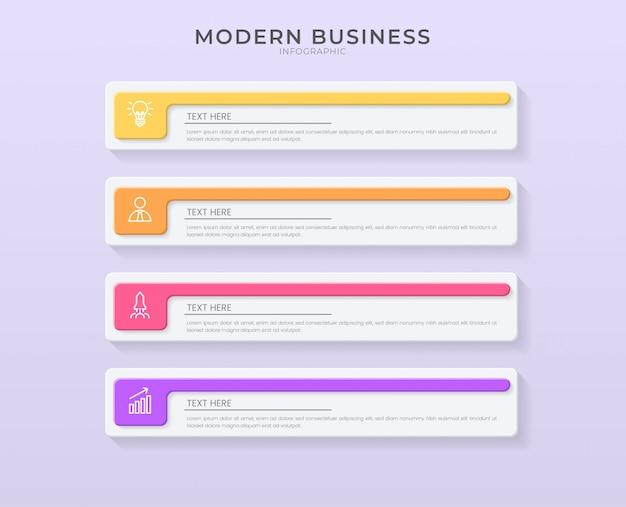 Plantilla de proceso de gráfico de organización de diseño de infografía 3d con texto editable.