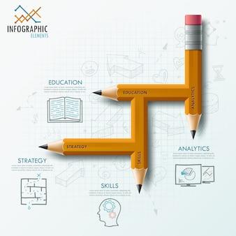 Plantilla de proceso de infografía moderna con lápiz inusual