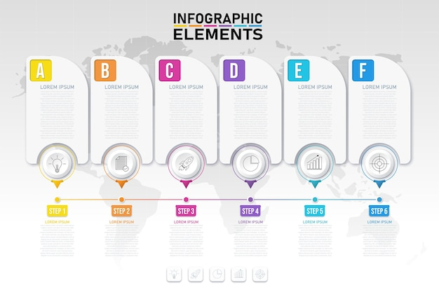 Plantilla de proceso de infografías coloridas modernas con iconos para 6 opciones.