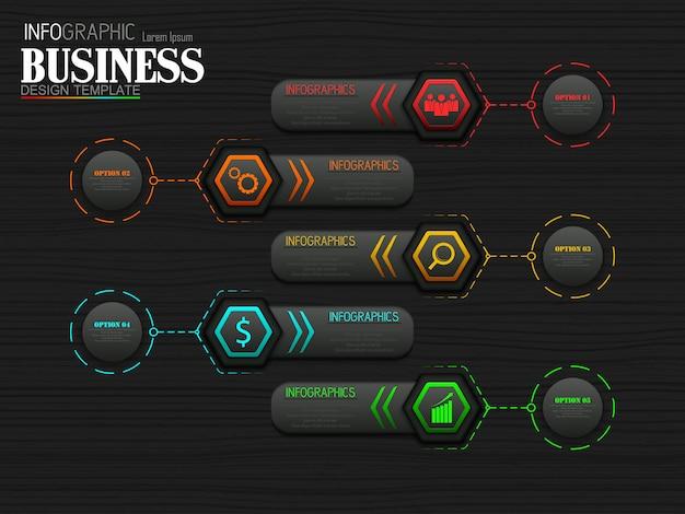 Plantilla de proceso de línea de tiempo gráfico de información empresarial