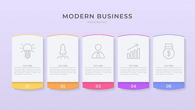 Plantilla de proceso de organigrama de diseño de infografía y estilo de corte 3d con texto editable