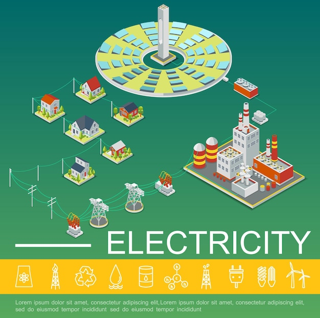 Plantilla de producción y distribución de electricidad con paneles solares, fábrica de energía, líneas de transmisión eléctrica, casas en ilustración de estilo isométrico