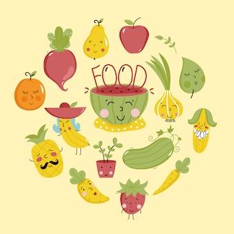 Plantilla de producto orgánico con frutas y verduras.