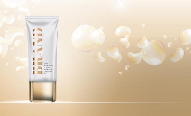 Plantilla de productos cosméticos para anuncios o fondo de revista.