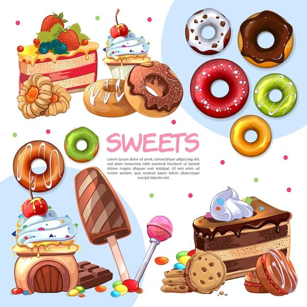 Plantilla de productos dulces de dibujos animados