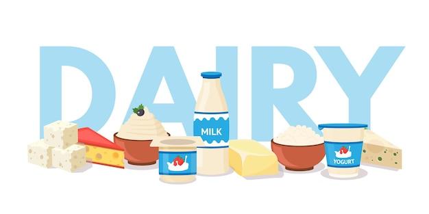Plantilla de productos lácteos, banner web de surtido de mercado de agricultores